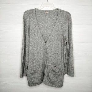 JCrew cotton knit three-pocket cardigan size L